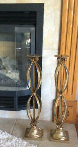 """24"""" Decorative Ornate Gold Metal Candle Holders"""