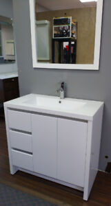 "Brand New Modern high-gloss white 36"" Vanity incl sink top"