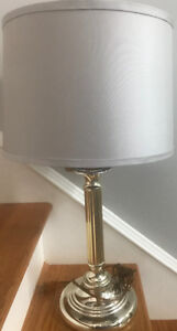 **BRASS COLORED LAMP WITH LIGHT GREY LAMPSHADE FOR SALE**