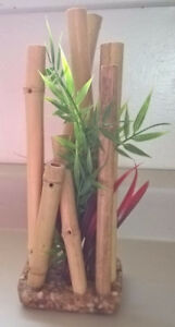 Aquarium Bamboo Ornament with Artificial Plant 10 inches tall