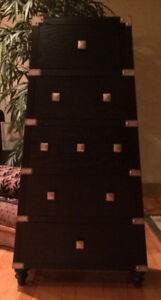 ASIAN INSPIRED BLACK CHEST OF DRAWERS