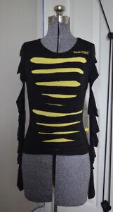 Punky Fish Slashed Black Sweater with Yellow Underlay