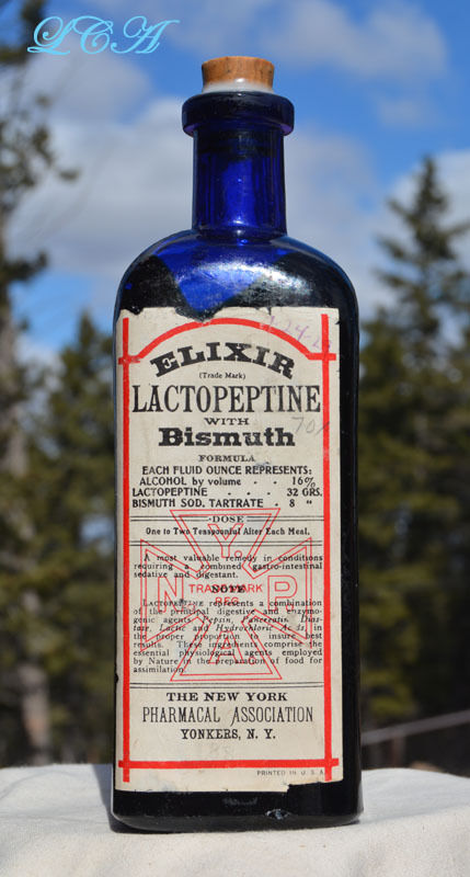 LARGE cobalt BLUE antique LACTOPEPTINE embossed & labeled PATENT quack MEDICINE