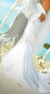 Satin white more Lee bridal gown