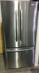 "Whirlpool SS French door bottom freezer 33"" Fridge Gold $899"