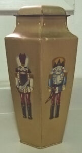 Antique 1800s Gold Colored Biscuit/Tea Tin 6 Sided Litho Tin