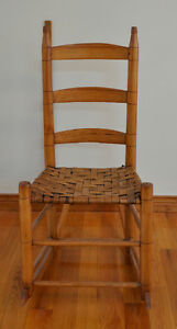 Antiqiue Pine Rocker With Woven Seat