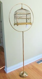 Vintage Brass Wire Bird Cage with Stand