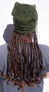 Halloween Costume Wig - Green Beanie with Reddish Brown Braids