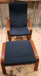 IKEA POANG LOUNGE CHAIR & FOOT STOOL - DARK BLUE