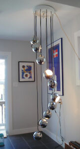 Mid Century Retro Guzzini Chrome Ball Cascading Chandelier Lamp