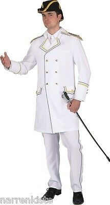 Admiral Anzug Kapitän Matrosen Kostüm Jacke Mariene Offizier Captain Uniform Hut (Captain Jack Herren Kostüme)