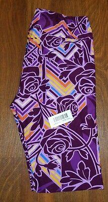 MWT LuLaRoe TC Purple Lavender Chevron Disney Roses Floral Leggings *UNICORN*HTF