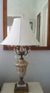 Vintage Pair of Lamps, with glass crystals, yes, really