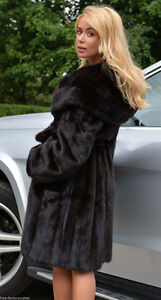 GENUINE MINK FUR COAT (BLACK) (3/4 LENGTH) (PRICED VERY LOW)