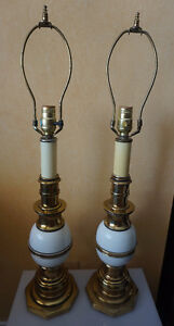 4U2C PAIR VINTAGE BRASS AND CREAM BALL LAMPS