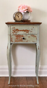 Antique shabby chic milk paint night stand