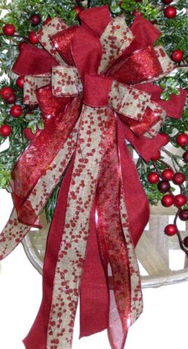 HANDMADE CHRISTMAS BOW BURGUNDY & TAN WIRED RIBBON # 60