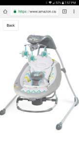 Ingenuity InLighten 2-In-1 Cradling Swing and Rocker- Avondale