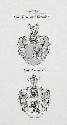 1848 Wappen von Naefe und Obischau von Natzmer 2 Kupferstiche Tyroff