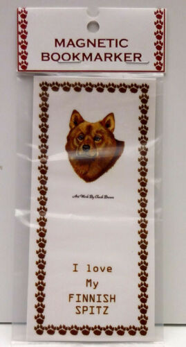 "FINNISH SPITZ DOG  MAGNETIC BOOKMARKER,""I LOVE MY FINNISH SPITZ"""