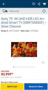 BRANDNEW Sony 75 4K UHD HDR LED Android Smart TV (XBR75X850F)