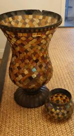 Moroccan vase & tealight candle holder set