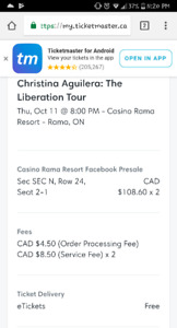 Christina Aguilera tickets!