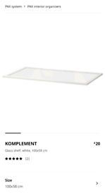 Ikea Komplement White Glass Shelf For PAX Wardrobe