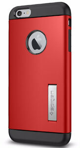 Red Spigen Slim Armour Case With Kick Stand - Iphone 6 plus
