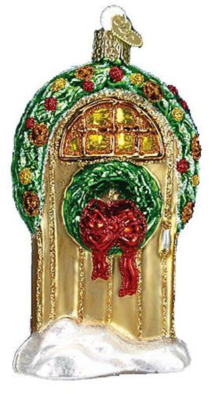 WELCOME DOOR WITH WREATH OLD WORLD CHRISTMAS HOLIDAY GLASS ORNAMENT NWT 20034