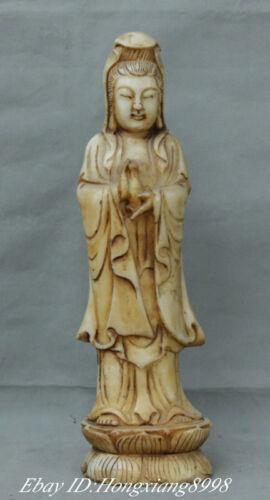 "16"" China Old Jade Buddhism Kwan-yin Quan Yin Guan Yi Hold vase Buddha statue"