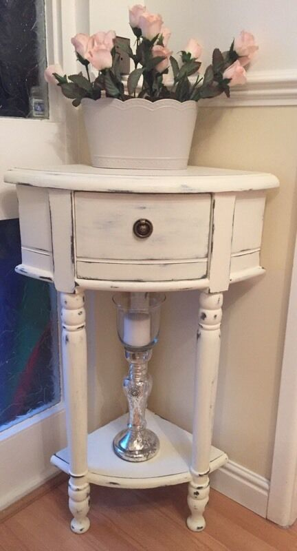 Solid Vintage Corner Plant Lamp Stand Shabby Chic