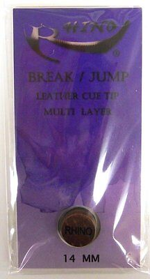 Rhino Jump/break Hard Leather Tip - Pool Cue Tip - Layered Laminated - Bca Legal