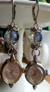 Unique crystal and vintage watch earrings