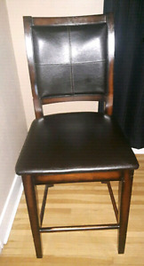 Solid wood and Leather Bar Stool