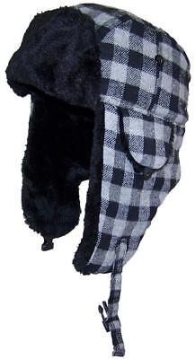 Kids Plaid Russian/Aviator Winter Hat, Snow, Cold, Ski, Outdoor #198 Black/Gray](Kids Russian Hats)