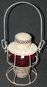 Antique CN Lantern with Red Globe