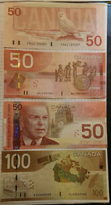 Fifty & Hundred - 50 & 100 Dollar Bill - 1988 - Exc condition Windsor Region Ontario image 2