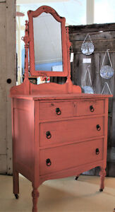ANTIQUE DRESSER WITH MIRROR, REFINISHED, COUNTRY FARMHOUSE STYLE