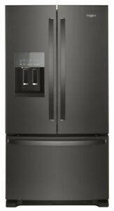 "NEW WHIRLPOOL 36"" BLACK STAINLESS STEEL FRENCH DOOR FRIDGE​"