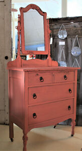 ANTIQUE DRESSER/MIRROR, REFINISHED, COUNTRY FARMHOUSE STYLE