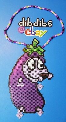 Courage the cowardly dog kandi perler necklace rave EDC PLUR hama art bead - Perler Bead Dog