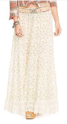 Denim & Supply Ralph Lauren Women's White Floral Crochet  Boho Maxi Skirt XS & M