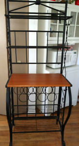 wrought iron kitchen stand with wine rack