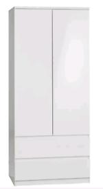 A new good quality white x white gloss finish 2 door 2 drawer wardrobe