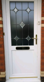 White UPVC Front Door in used condition