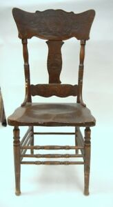 Vintage Press Back Solid Ash Chair Circa 1910
