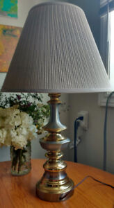 Vintage, large silver and brass lamp