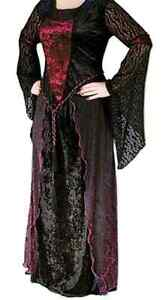 Women's Plus Size Gothic Velvet Witch's Gown w/ Long Lace Sleeve